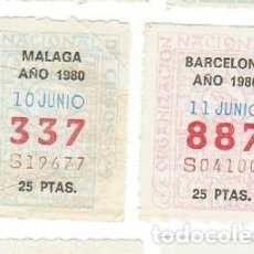 Cupones ONCE: LOTERIA 2 CUPONES ONCE AÑO 1980. Lote 119076583