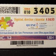 Cupones ONCE: CUPON ONCE. DIA INTERNACIONAL PERSONAS CON DISCAPACIDAD. 3 DICIEMBRE 2012. Nº 34054. Lote 126009703