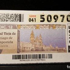 Cupones ONCE: CUPON ONCE. C. VIEJA S. COMPOSTELA PATRIMONIO MUNDIAL EN ESPAÑA. 10 DICIEMBRE 2012. Nº 50970. Lote 126010247