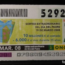 Cupones ONCE: CUPON ONCE. SORTEO EXTRA DIA DEL PADRE. 19 MARZO 2008. Nº 52929. Lote 126643619