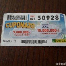 Cupones ONCE: CUPÓN ONCE 18-05-18 EL CUPONAZO.. Lote 131039916