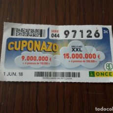 Cupones ONCE: CUPÓN ONCE 01-06-18 CUPONAZO.. Lote 131040020