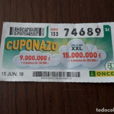 Cupones ONCE: CUPÓN ONCE 15-06-18 CUPONAZO.. Lote 131040056
