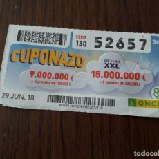 Cupones ONCE: CUPÓN ONCE 29-06-18 CUPONAZO.. Lote 131040128