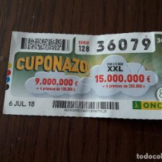 Cupones ONCE: CUPÓN ONCE 06-07-18 CUPONAZO.. Lote 131040176