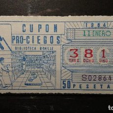 Cupones ONCE: CUPON ONCE 1984. Nº 3817. BIBLIOTECA BRAILLE. 11 DE ENERO DE 1984.. Lote 131056076
