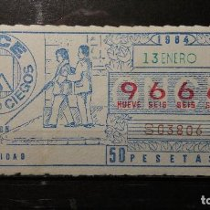 Cupones ONCE: CUPON ONCE 1984. Nº 9666. ORIENTACION Y MOVILIDAD. 13 DE ENERO DE 1984.. Lote 131056308