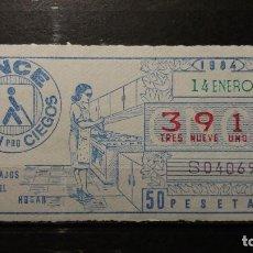 Cupones ONCE: CUPON ONCE 1984. Nº 3914. TRABAJOS DEL HOGAR. 14 DE ENERO DE 1984.. Lote 131056548