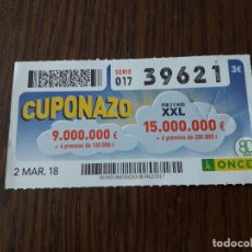 Cupones ONCE: CUPÓN ONCE 02-03-18 CUPONAZO.. Lote 131639926