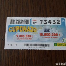 Cupones ONCE: CUPÓN ONCE 16-02-18 CUPONAZO.. Lote 131652614