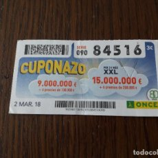 Cupones ONCE: CUPÓN ONCE 02-03-18 CUPONAZO.. Lote 131652674
