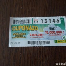 Cupones ONCE: CUPÓN ONCE 02-02-18 CUPONAZO.. Lote 132808002