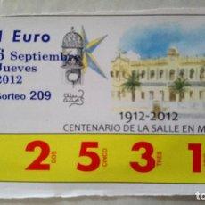 Cupones ONCE: BILLETE RIFA DE CARIDAD MELILLA. Lote 134415642