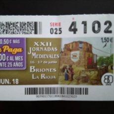 Cupones ONCE: CUPÓN XXII JORNADAS MEDIEVALES DE BRIONES LA RIOJA. Lote 136137253