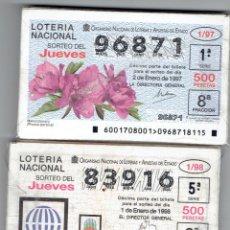 Billets ONCE: DOS AÑOS COMPLETOS JUEVES 1997 Y 1998. Lote 143146130