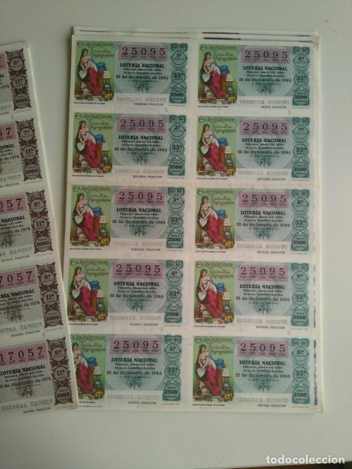 Cupones ONCE: Lote 25 pliegos de 10 decimos lotería 1978, 1980, 1988 - Foto 2 - 143157238
