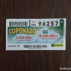 Cupones ONCE: CUPÓN ONCE 16-11-18 CUPONAZO.. Lote 144276030