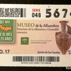 Billets ONCE: Nº 56748 (10/AGOSTO/2017)-GRANADA. Lote 150939226