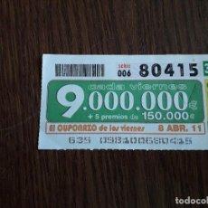 Cupones ONCE: CUPÓN ONCE 08-04-11 EL CUPONAZO DE LOS VIERNES.. Lote 151549814