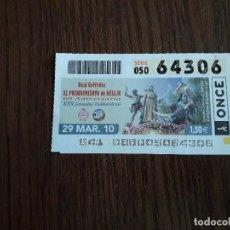 Cupones ONCE: CUPÓN ONCE 29-03-10 60 ANIVERSARIO REAL COFRADÍA EL PRENDIMIENTO DE HELLÍN.. Lote 151549958