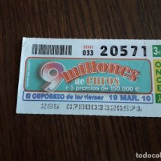 Cupones ONCE: CUPÓN ONCE 19-03-10 EL CUPONAZO DE LOS VIERNES.. Lote 151550222