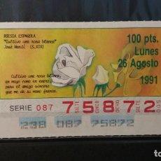 Cupones ONCE: C. ONCE. POESIA ESPAÑOLA. ¨CULTIVO UNA ROSA BLANCA¨.JOSE MARTI (S.XIX). 26 AGOSTO 1991.Nº 75872.. Lote 151731670