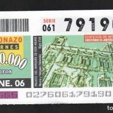 Cupones ONCE: ONCE NÚM. 79190 SERIE 061 - 27 ENERO 2006 - PALACIO DEL MARQUÉS DE DOS AGUAS. Lote 151921894