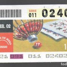 Cupones ONCE: ONCE NÚM. 02402 SERIE 011 - 1 ABRIL 2002 - JUEGOS DE MESA - BINGO. Lote 151925842