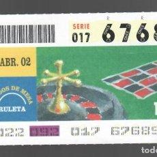 Cupones ONCE: ONCE NÚM. 67689 SERIE 017 - 2 ABRIL 2002 - JUEGOS DE MESA - RULETA. Lote 151926086