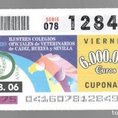 Cupones ONCE: ONCE NÚM. 12849 SERIE 078 - 10 FEBRERO 2006 COLEGIOS OFICIALES DE VETERINARIOS CÁDIZ, HUELVA SEVILLA. Lote 152094466