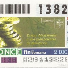 Cupones ONCE: CUPON ONCE - 13829 - SORTEO 02 DICIEMBRE 2001 - FRASES CELEBRES. Lote 152216796