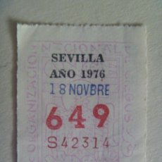 Cupones ONCE: CUPON DE LA ONCE DEL 18 DE NOVIEMBRE DE 1976 , SEVILLA. Lote 262969370