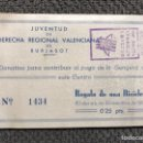 Cupones ONCE: BURJASOT (VALENCIA) PAPELETA RIFA.. SORTEO DE UNA BICICLETA. JUVENTUD DE DERECHA REGIONAL (A.1933). Lote 156770908