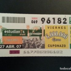 Cupones ONCE: CUPON ONCE. 27/04/07. Lote 157138314