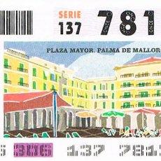 Cupones ONCE: CUPON DE LA ONCE DEL 2 DE NOVIEMBRE DE 2001, PALMA DE MALLORCA: PLAZA MAYOR. Lote 158127510