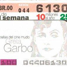 Cupones ONCE: CUPON DE LA ONCE DEL 9-4-2000. ESTRELLAS DEL CINE MUDO: GRETA GARBO. Lote 158127850