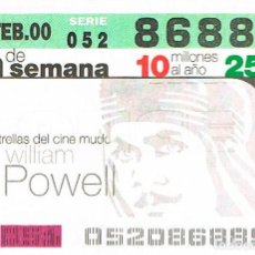 Cupones ONCE: CUPON DE LA ONCE DEL 20-2-2000. ESTRELLAS DEL CINE MUDO: WILLIAM POWELL. Lote 158128226