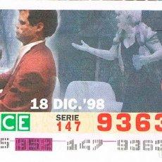 Cupones ONCE: CUPON DE LA ONCE DEL 18-12-1998. 60 AÑOS DE SERVICIOS SOCIALES: PROMOCIÓN DE LA MÚSICA. Lote 158128726