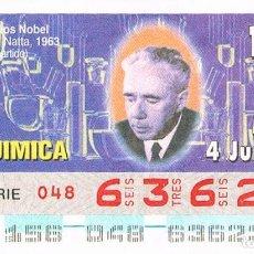 Cupones ONCE: CUPON DE LA ONCE DEL 4-6-1996, PREMIOS NOBEL: GIULIO NATTA (QUIMICA). Lote 158128998