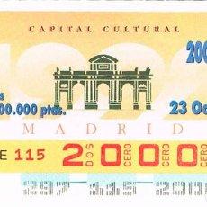Cupones ONCE: CUPON DE LA ONCE DEL 23-10-1993, MADRID CAPITAL EUROPEA DE LA CULTURA. Lote 158129498