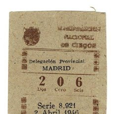 Cupones ONCE: CUPON ONCE 1946 DIA 2 ABRIL (MADRID). Lote 158163598