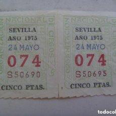 Cupones ONCE: LOTE DE 2 CUPONES DE LA ONCE DEL 24 MAYO DE 1975, SEVILLA.. Lote 261837480
