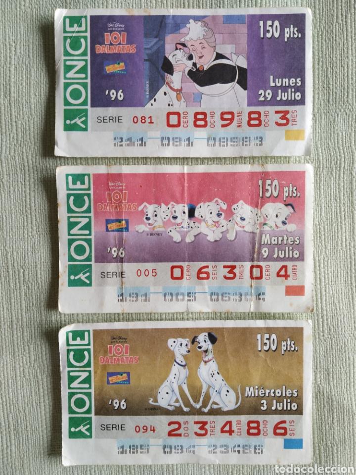 LOTE 3 CUPÓN ONCE SERIE 101 DÁLMATAS DISNEY (Coleccionismo - Lotería - Cupones ONCE)