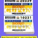 Cupones ONCE: 2014 AÑO COMPLETO - BONO CUPÓN SEMANAL DE LA ONCE / CALIDAD MUY BUENA. Lote 160681270