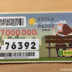 Cupones ONCE: ONCE - 76392 - SORTEO 19 MARZO 2018 - DIA DEL PADRE. Lote 161007578