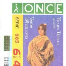 Cupones ONCE: CUPON ONCE 31 ENERO 1997 TRAJES TIPICOS DE MADRID . Lote 161526858