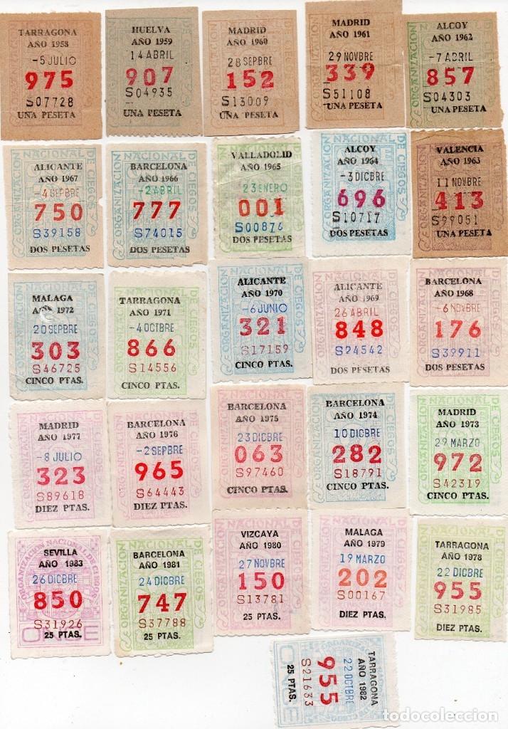 Cupones ONCE: 51 cupón,correlativos del 1933 al 1983,en este lote no hay descuento - Foto 2 - 162163998