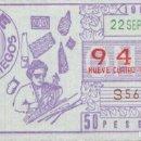 Cupones ONCE: CUPON ONCE 22 SEPTIEMBRE 1984 TRABAJOS DE ARTESANIA. Lote 165657410
