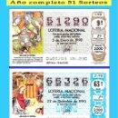 Cupones ONCE: OCASIÓN- 1990 LOTERÍA NACIONAL.- AÑO COMPLETO SÁBADOS / CALIDAD MUY BUENA, DISPONGO DE OTROS AÑOS. Lote 165731822