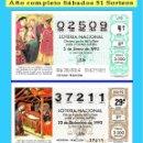 Cupones ONCE: OCASIÓN- 1992 LOTERÍA NACIONAL.- AÑO COMPLETO SÁBADOS / CALIDAD MUY BUENA, DISPONGO DE OTROS AÑOS. Lote 165731882